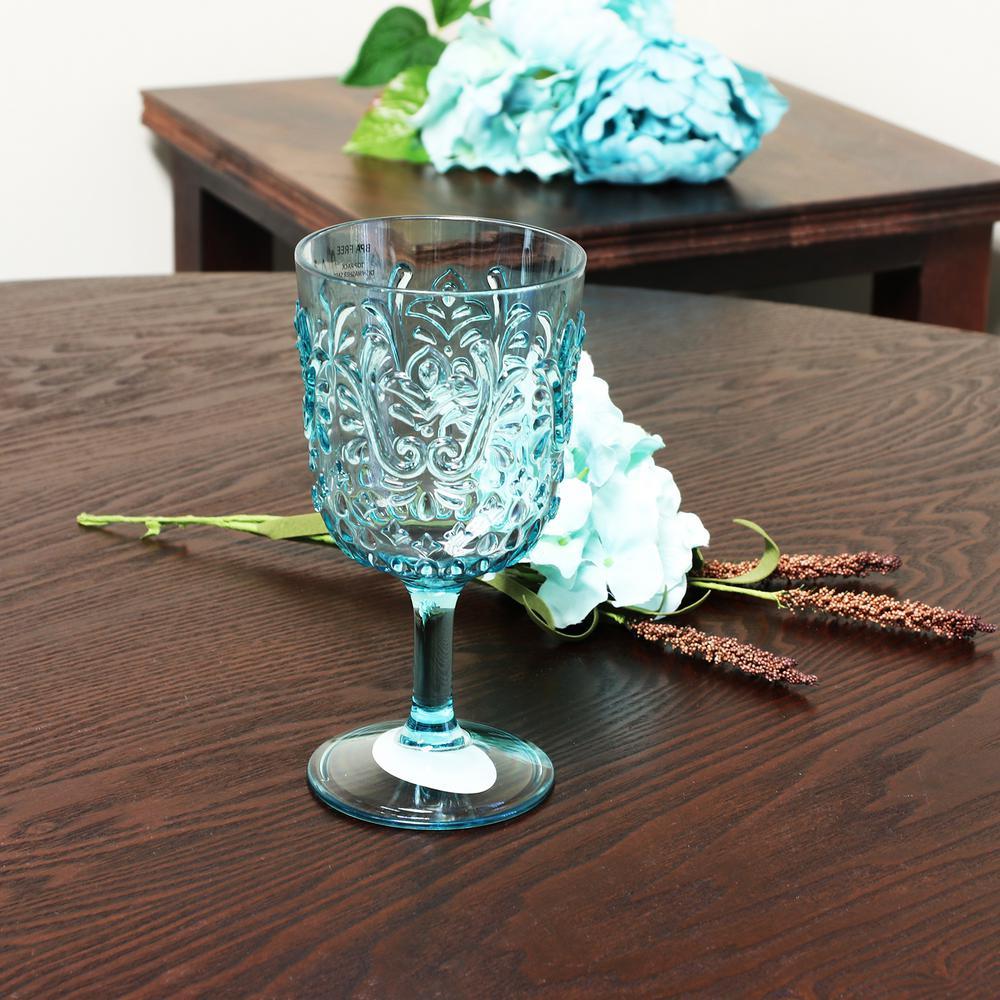 Elmira 16 oz. Acrylic Teal Goblets (8-Pack)
