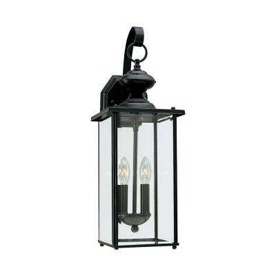 Jamestowne 2-Light Black Outdoor 20.25 in. Wall Lantern Sconce with Dimmable Candelabra LED Bulb