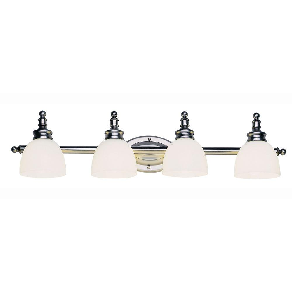 Bel Air Lighting 4-Light Antique Nickel Bath Bar Light with Opal Glass