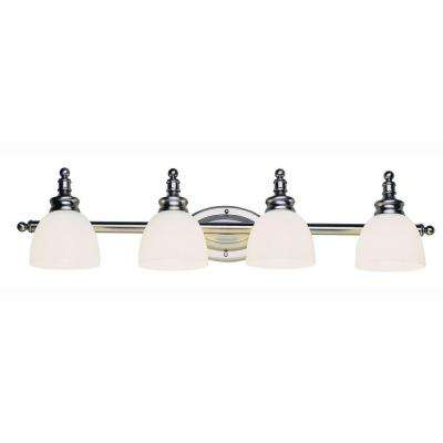 4-Light Antique Nickel Bath Bar Light with Opal Glass