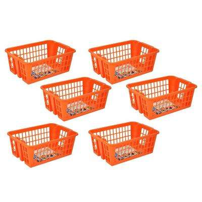 Medium Stackable Storage Basket in Orange (6-Pack)