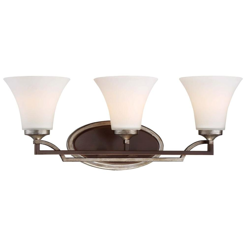 Astrapia 3-Light Dark Rubbed Sienna with Aged Silver Bath Light