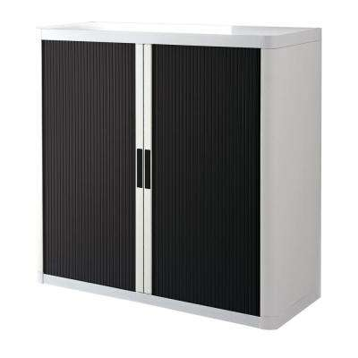 Paperflow easyOffice White and Black 41 in. Tall Storage Cabinet with 2-Shelves
