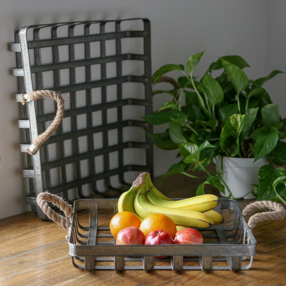 Rectangle Metal Galvanized Gray Decorative Basket (Set of 2)
