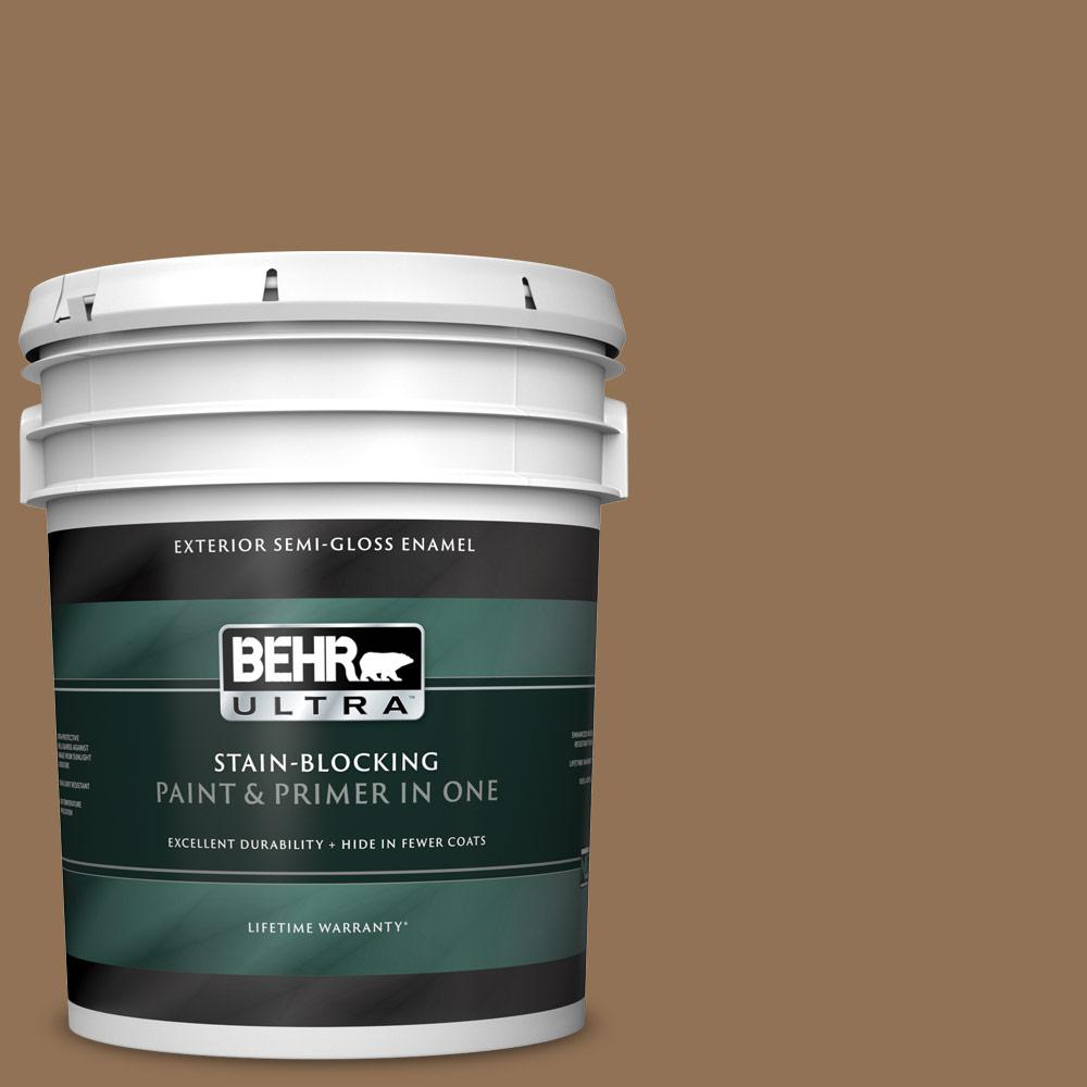 Behr Ultra 5 Gal Pmd 107 Shaved Chocolate Semi Gloss Enamel Exterior Paint And Primer In One 585305 The Home Depot