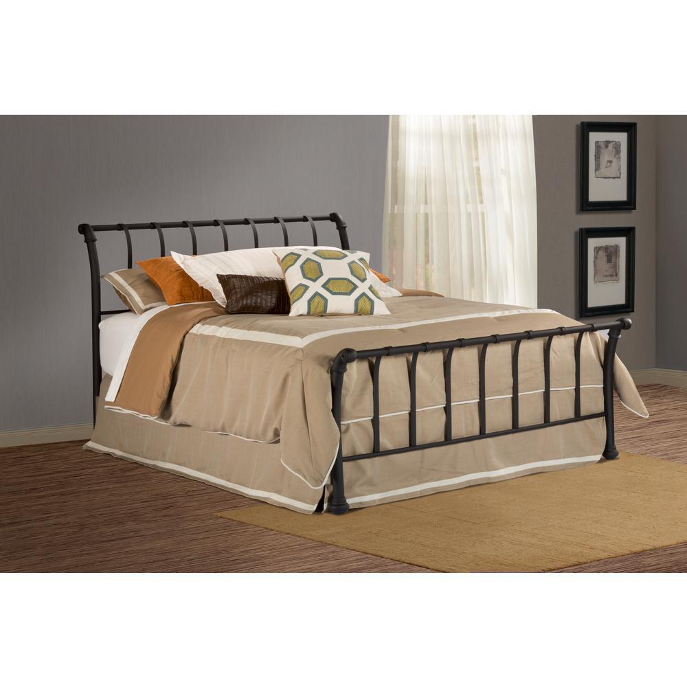 Janis Textured Black Full Sleigh Bed