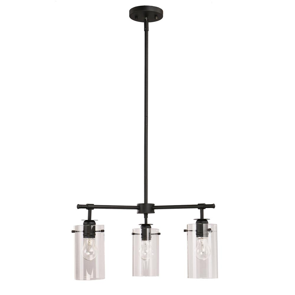 Brooklyn Collection 3-Light Black Chandelier with Clear Glass Shades