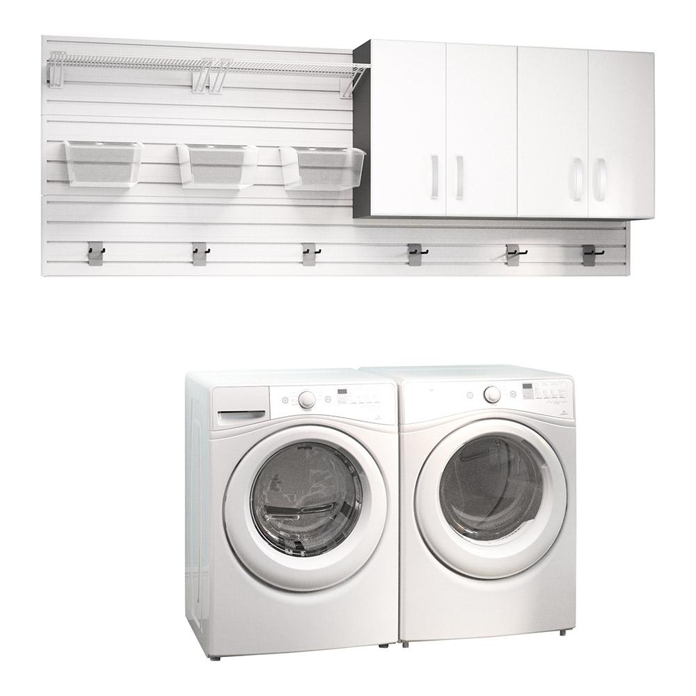 Modular Laundry Room Storage Set With Accessories In White 2 Piece