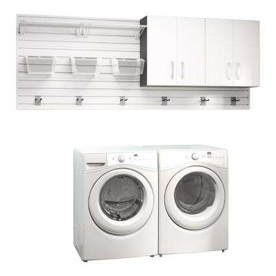 Modular Laundry Room Storage Set with Accessories in White (2-Piece)