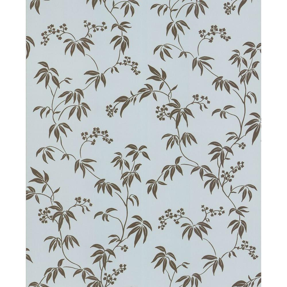 Brewster Madison Florals Blue Bamboo Wallpaper Sample