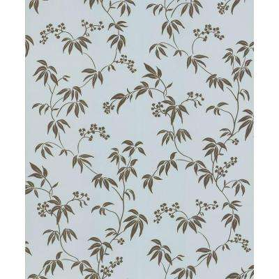 Madison Florals Blue Bamboo Wallpaper Sample