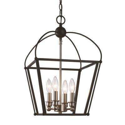 Agnew 4-Light Black and Brushed Nickel Pendant