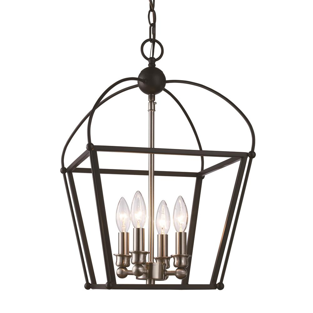 Bel Air Lighting Agnew 4 Light Black And Brushed Nickel Pendant
