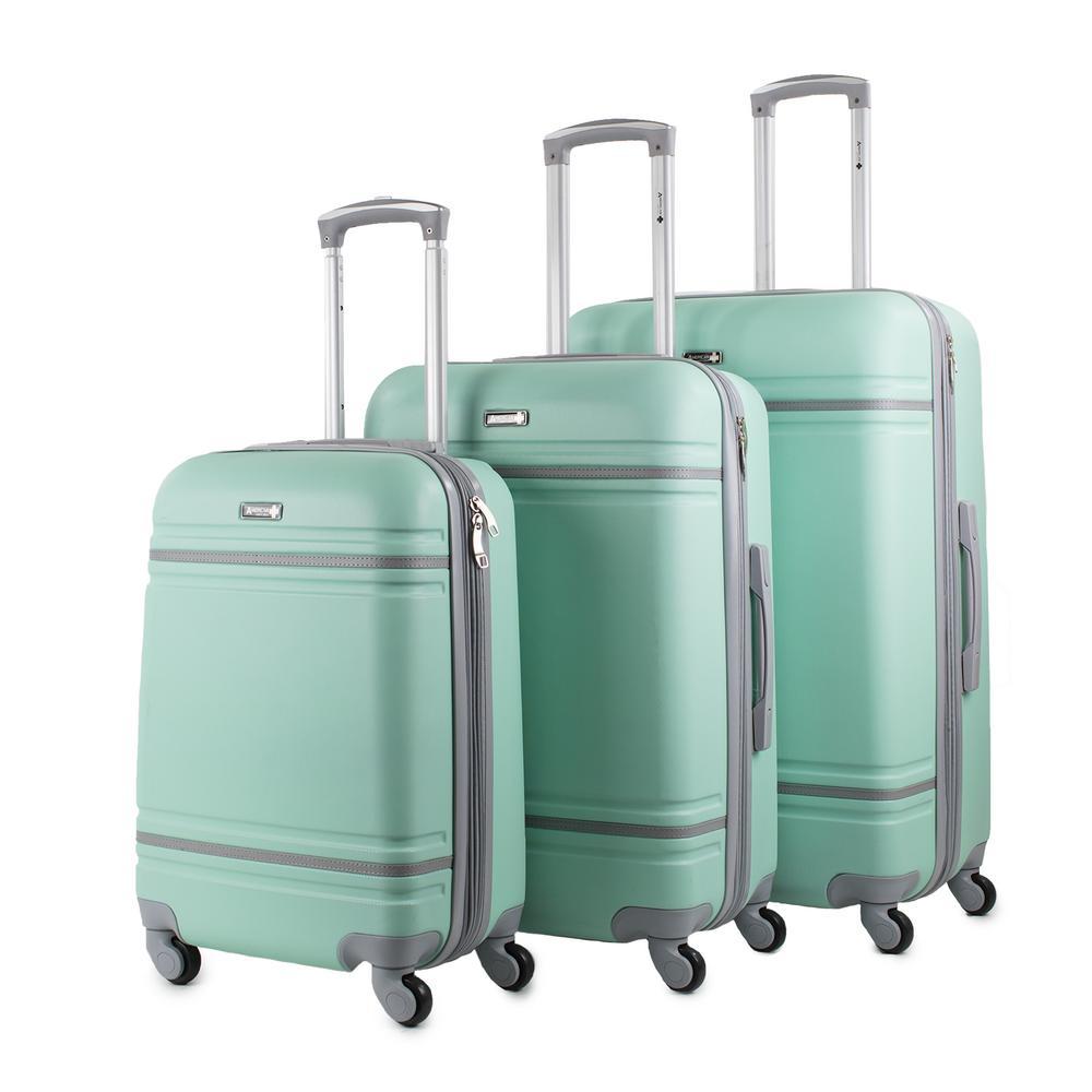 American Sport Plus Varsity 3-Piece Mint/Grey Expandable Hardside Spinner Luggage Set