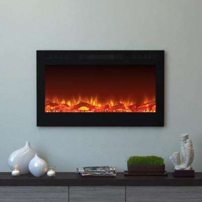 Cynergy 36 in. Log Electric Recessed Built-In Fireplace in Black