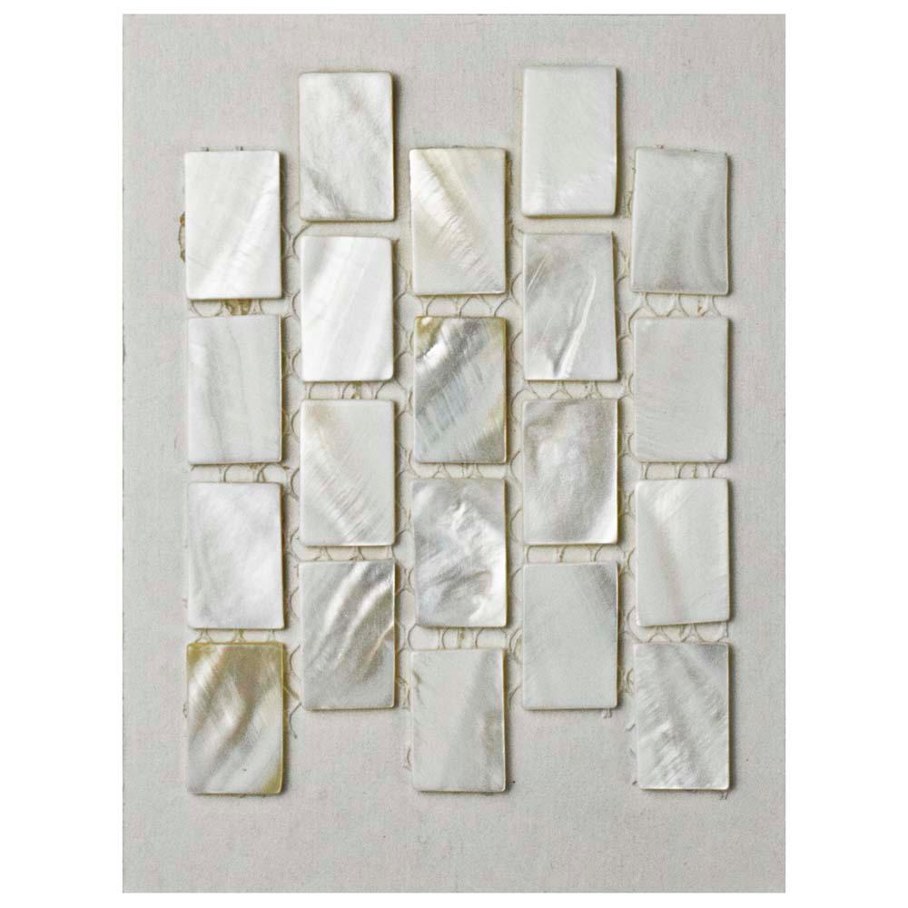 Merola Tile Conchella Subway White Natural Seashell Mosaic Tile 3