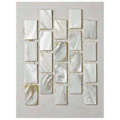 Conchella Subway White Natural Seashell Mosaic Tile - 3 in. x 4 in. Tile Sample