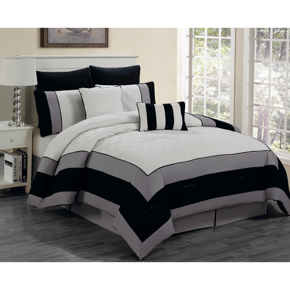 spain whiteblack 8piece king comforter set