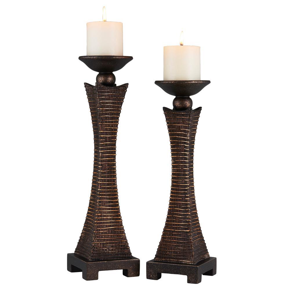 Brown Kayan Polyresin Candleholders (Set of 2)