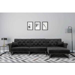 Harper Bright Designs Black 2 Piece Modern Vintage Futon