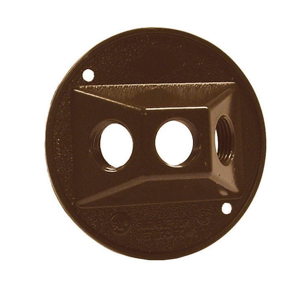 BELL Bronze Round Weatherproof Cluster Cover with Three 1/2 in. Threaded Outlets