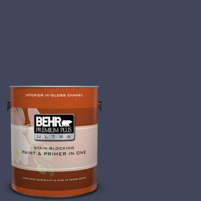 1 gal. #S530-7 Dark Navy Hi-Gloss Enamel Interior Paint
