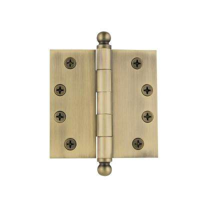 4 in. Ball Tip Heavy-Duty Hinge with Square Corners in Vintage Brass