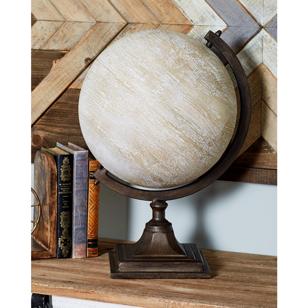 19 in. Decorative Globe with a Brown Base
