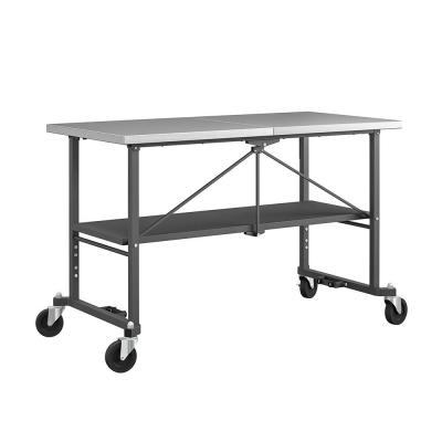 SmartFold 2.8 ft. Stainless Steel Top with Locking Casters Folding Workbench