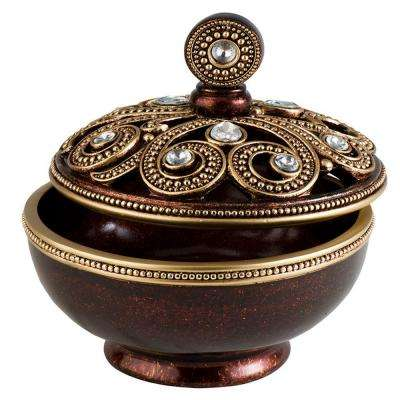 8 in. W x 8.5 in. H Moselle Jewelry Box in Brown/ Mahogany