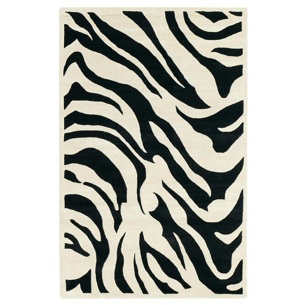 Zebra Black 5 ft. 9 in. Round Area Rug