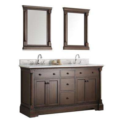 Kingston 60 in. Vanity in Antique Coffee with Marble Vanity Top in Carrera White with White Ceramic Basins and Mirror
