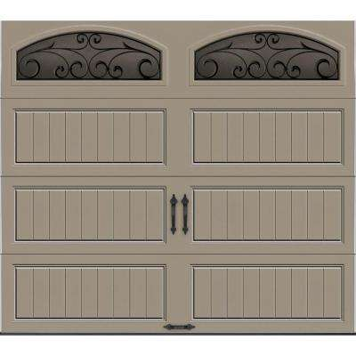 Gallery Collection 8 ft. x 7 ft. 18.4 R-Value Intellicore Insulated Sandtone Garage Door with Wrought Iron Window