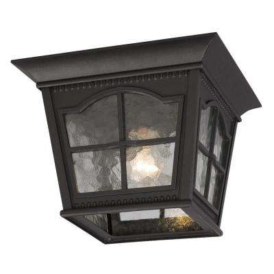 Negron 1-Light Outdoor Black Flush Mount