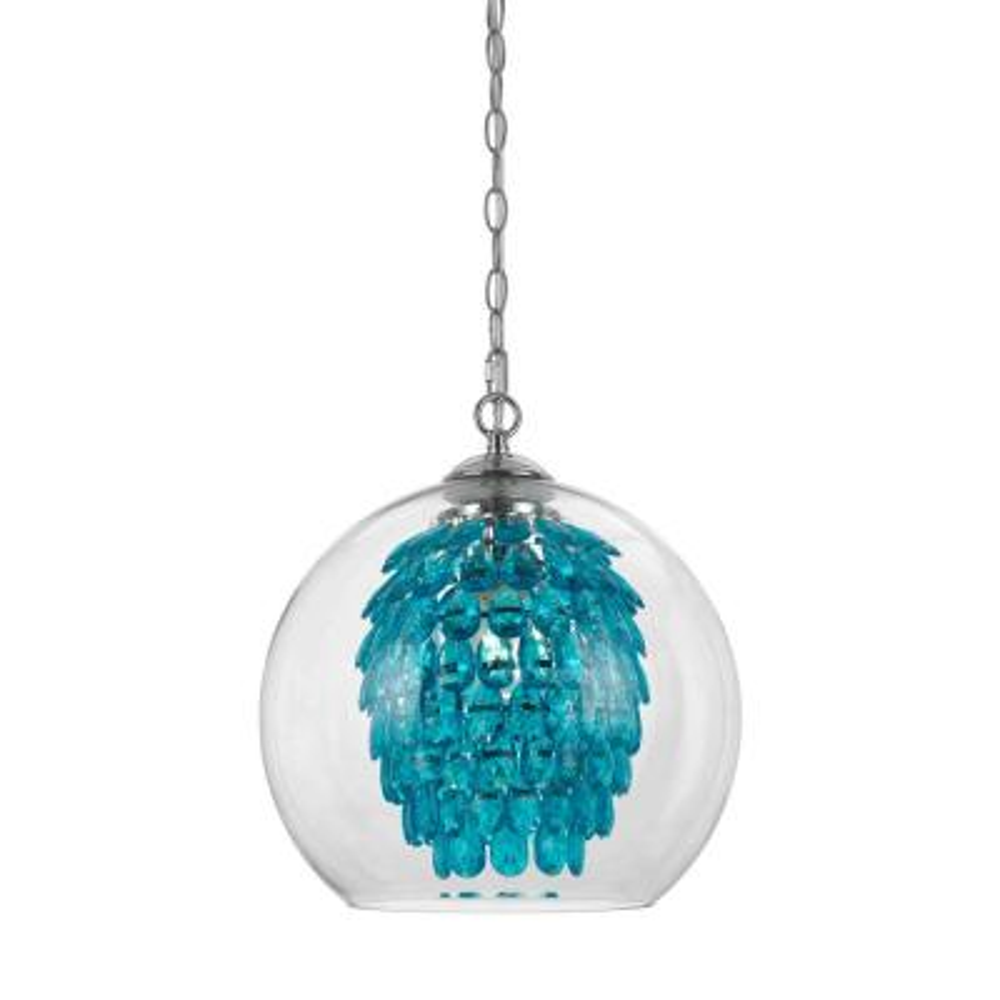 Glitzy 1-Light Turquoise Chandelier