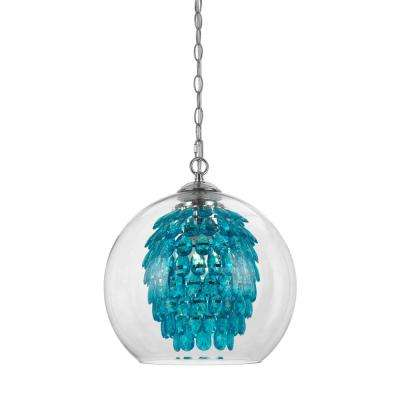 Glitzy 1-Light Turquoise Chandelier