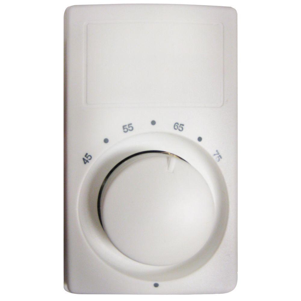 M600 Series Anticipating White Bimetal Single-Pole 22 Amp Wall Thermostat