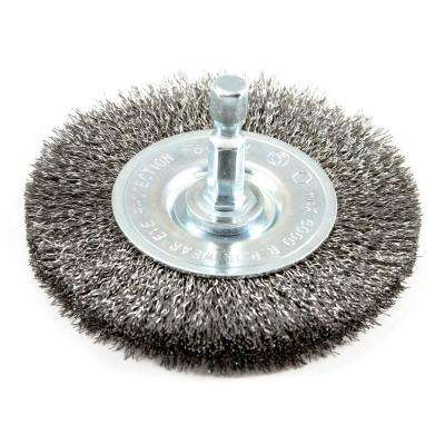 3 in. x 1/4 in. Hex Shank Fine Crimped Wire Wheel Brush