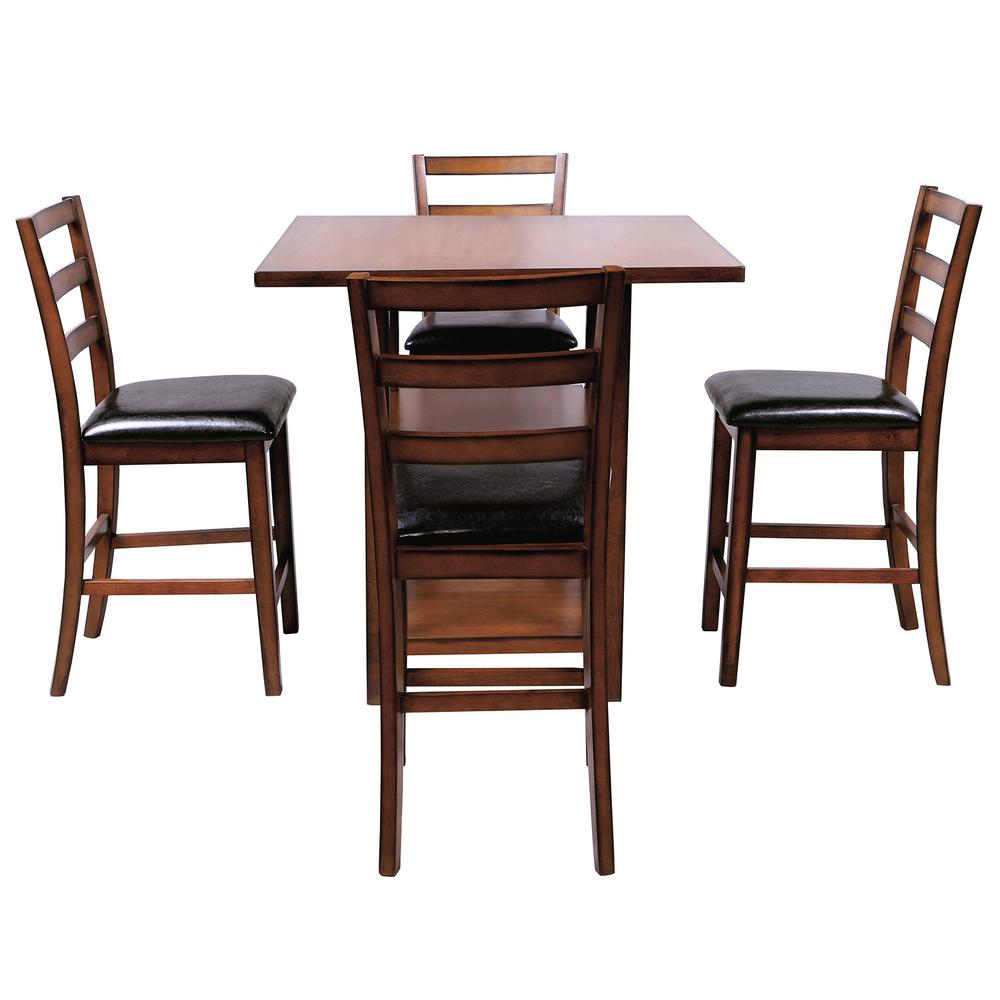 Boyel Living Brown 5 Piece Wooden Counter Height Dining Set Square Dining Table With 2 Tier Storage Shelving And 4 Padded Chairs Tr 031b The Home Depot