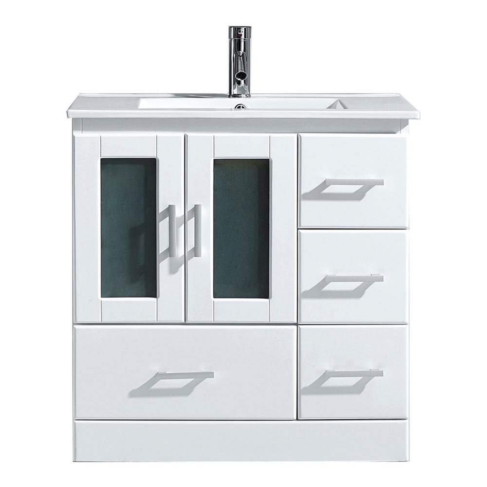 Virtu USA Zola 30 in. W Bath Vanity in White with Ceramic Vanity Top in Slim White Ceramic with Square Basin and Faucet
