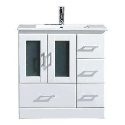 Zola 30 in. W Bath Vanity in White with Ceramic Vanity Top in Slim White Ceramic with Square Basin and Faucet