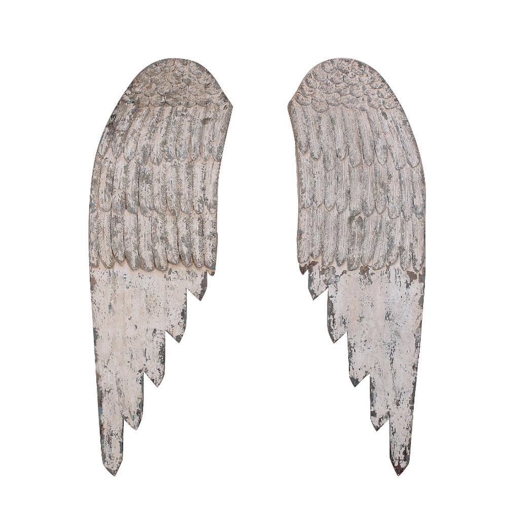 44 in. H x 27.5 in. W Wooden Angel Wings Wall Art (Set of 2)