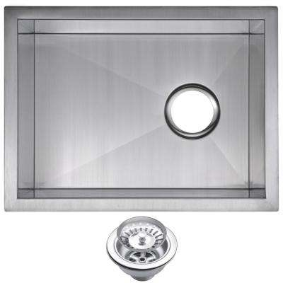 Undermount Stainless Steel 15 in. Single Basin Bar Sink with Strainer in Satin