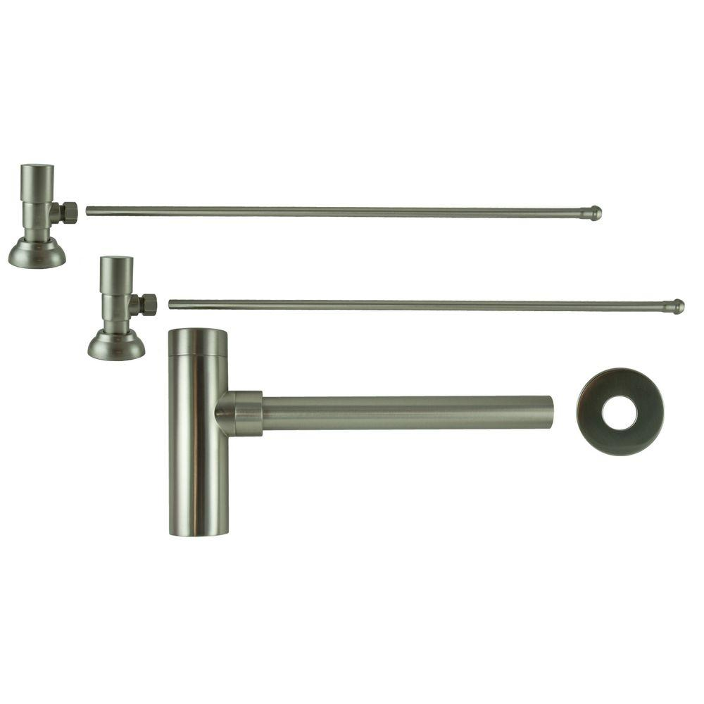 3/8 in. x 20 in. Brass Lavatory Supply Lines with Round Handle Shutoff Valves and Decorative Trap in Brushed Nickel Barclay provides all your essential bathroom needs. Replace unsightly plumbing under your exposed sink with this decorative lavatory trap and supplies. Enjoy the convenience of accessible water shut-off. Color: Brushed Nickel.