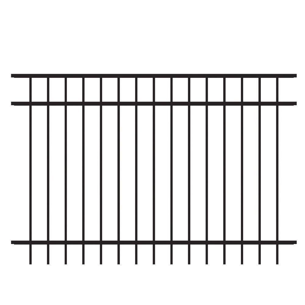 Vinings 4 ft. H x 6 ft. W Black Aluminum Pre-Assembled Fence Panel