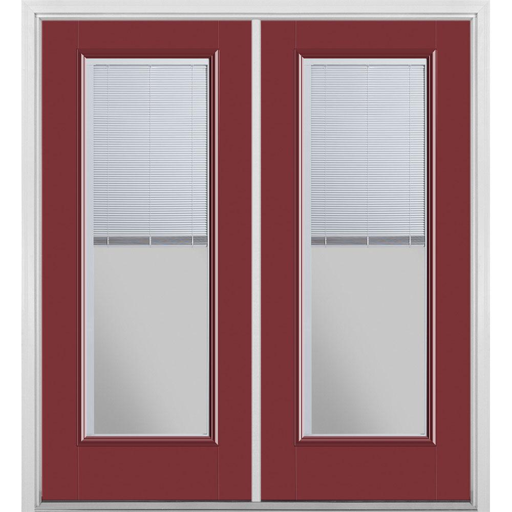 Masonite 72 in. x 80 in. Red Bluff Fiberglass Prehung Left Hand Inswing Mini Blind Patio Door with Brickmold, Vinyl Frame