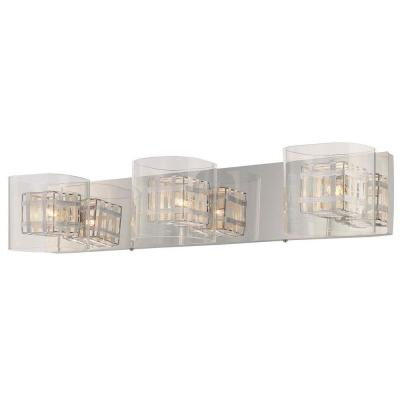 Jewel Box 3-Light Chrome Bath Light