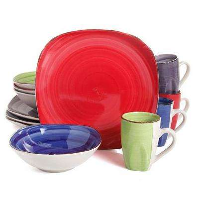 Color Vibes 16-Piece Assorted Colors Dinnerware Set