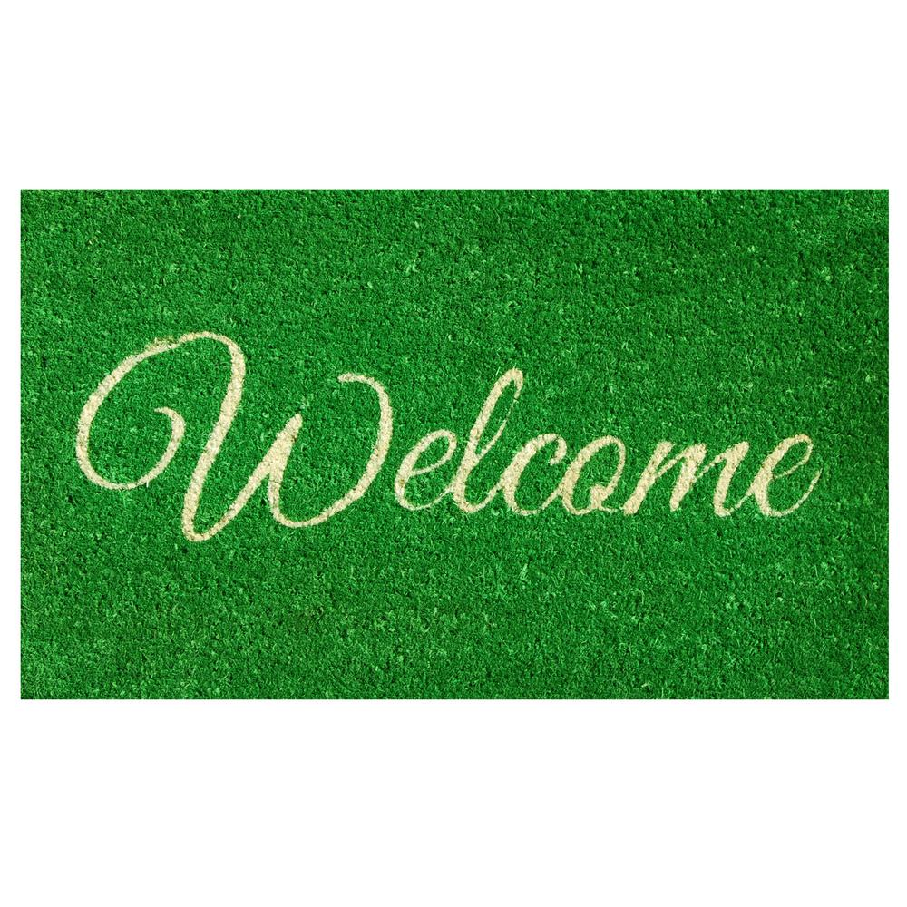 Attirant Home U0026 More Green Welcome Door Mat 17 In. X 29 ...