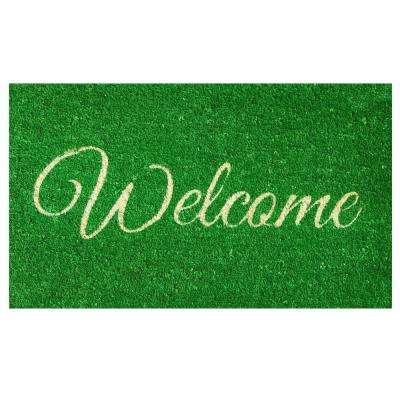 Green Welcome Door Mat 17 in. x 29 in.
